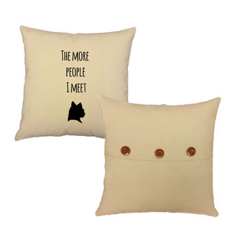 Set of 2 I Love My Cat Cotton throw pillows- Covers and or Cushions - 14x14 or  16x16 inches- White or Natural cotton canvas