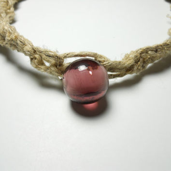 Hemp Necklace with Purple Glass Bead Pendant