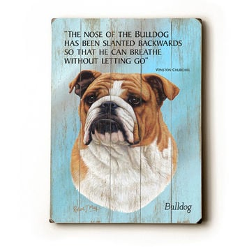 Bulldog by Artist Robert May Wood Sign