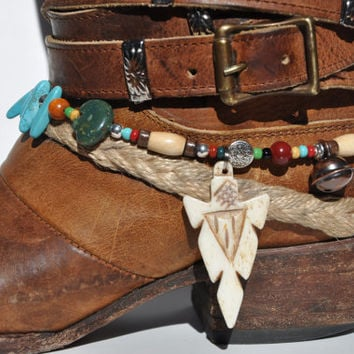 Carved Arrowhead Beaded boot bracelet with blue magnesite turquoise sticks, pewter,stone, bone hairpipe and glass seed beads. Handmade