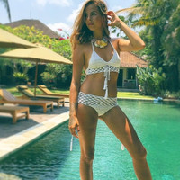 Crochet Knitted Two Piece Bikini With Tassel