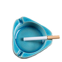 Ceramic Blue Triangle Cigarette Ashtray