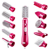 10in1 Multifunctional Hair curlers styling tools hair sticks kinkiness hair dryer machine comb hairdressing tool 110v-220v