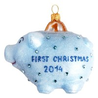 Nordstrom at Home First Christmas Blue Pig Glass Ornament