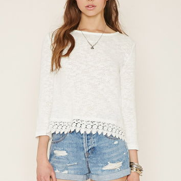 Crochet-Hem Textured Knit Top