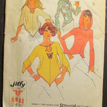 SALE Uncut 1970's Simplicity Sewing Pattern, 6656! Size 12 Sml/Medium/Women's/Misses/Stretch Knit Hippie Shirts/Hooded Jackets/Hoodies/Flare