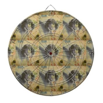 French Postcard Dart Board
