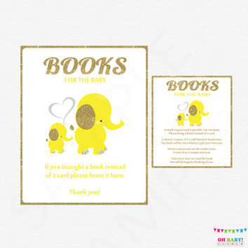 Bring a book instead of a Card, Elephant Baby Shower, Yellow and Gold Baby Shower, Elephant book request + Shower Sign, Printable, EL0004-yg