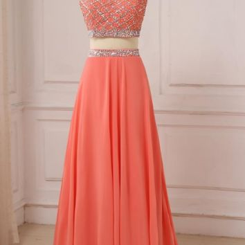 Coral Two Pieces Evening Dresses Chiffon Beaded Sequined Lady Formal Party Gowns