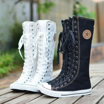 Canvas Boots Womens Sneaker Flat Tall Lace Up Knee High Zip Shoes