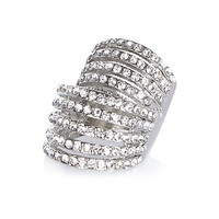 River Island Womens Silver tone crystal encrusted ring