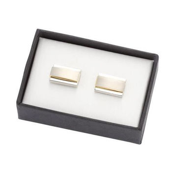MG Gifts - Metal Cufflinks W/A Pair (Nickel /Gold Color/Brush Finishing) In Black Card Board Box