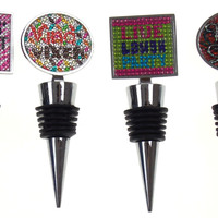Faux Rhinestone Wine Stopper Set of 4 Diva Girls Night Out Vino Vixen Live Laugh