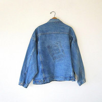 Vintage 90's Be KOOL Cigarette Tobacco DENIM Button Front Jean Jacket Sz XL
