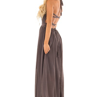 Mauve Smocked Halter Maxi Dress with Criss Cross Back Detail