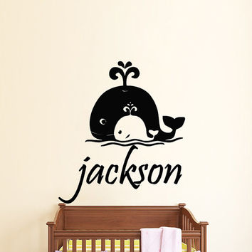 Wall Decals Personalized Name Decal Vinyl Sticker Whale Boy Baby Children Nautical Nursery Bedroom Decor Art Murals US7
