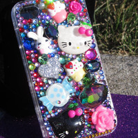 3D Hello Kitty decoden swarovski crystal iphone4 cell phone case