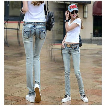 2017 spring and summer new plus size cotton female women girls elastic skinny low waist pencil pants jeans clothing clothes