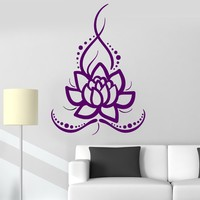 Vinyl Wall Decal Lotus Flower Ornament Buddhism Floral Decor Stickers Unique Gift (ig3542)