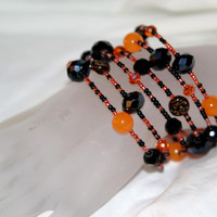 Dramatic Orange and Black, Jewelry, Cuff Bracelet,Bracelet, Moon Jewelry, Fire and Night
