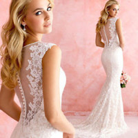 Sheer Back Ivory Mermaid Lace Wedding Dress Bridal Dress Custom Size 4 6 8 10 12