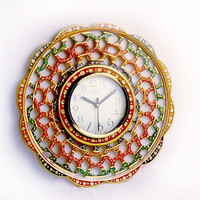 Aakashi Multi-color Round Marble Clock