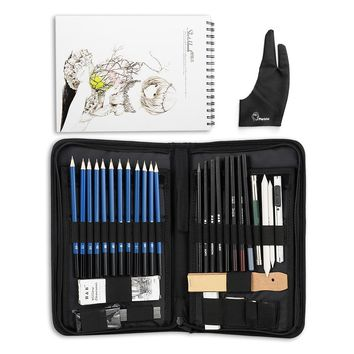 H&B 32/40 Pieces Art Supplies Sketch Tool Set with Graphite Pencils, Pastel Pencils, Paper Erasable Pen and Zippered Carry Case