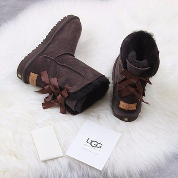Sale Ugg 1016225 Ribbon Bow Brown Classic Bailey Bow II Boot Snow Boots