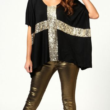 Sequins Cross Print Half Sleeve Loose Shirt