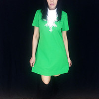 Vintage 60s Mod Green Polyester White Turtleneck Short Sleeve Fitted But Loose Mini Shift Dress M // L