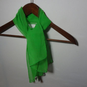 Vintage Women's Retro Green Rectangular Sheer Chiffon Hair or Neck Scarf