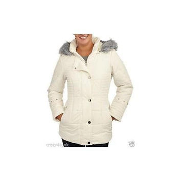 Women's Puffer Coat With Fur-Trimmed Hood And Fur-Lined Pockets, Small, Antique