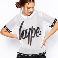 Hype Mesh T-Shirt With Logo Detail - White