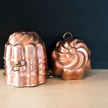 6 Vintage Copper Mini Bundt Pans, Tin Lined, Hot Cold Mold Pan, Custard, Jello, Made in Japan