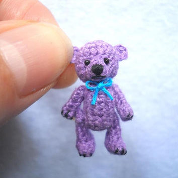 Micro Bear 1 Inch, Miniature Teddy Bear,  Amigurumi Crocheted Bear - Made To Order