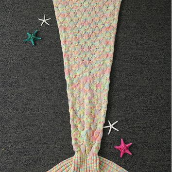 Winter Crochet Yarn Mermaid Blanket Throw with Ruffles For Kids