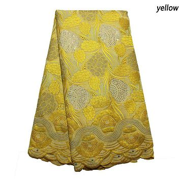 African cotton material swiss voile lace fabric high quality nigerian aso ebi style 5 yd lots