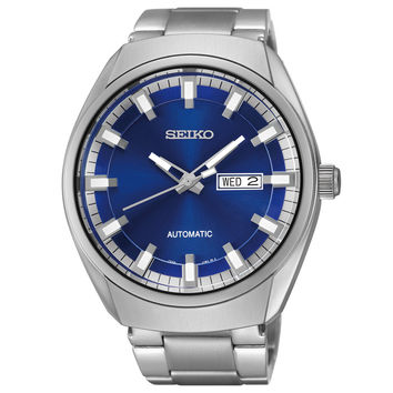 Seiko SNKN41 Men's Watch Automatic Blue Sunray Dial Silver-Tone Stainless Steel