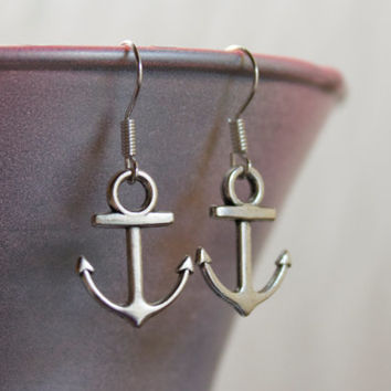SALE: Silver Anchor Dangling Earrings with Sterling Silver Plated Findings - Nautical Bridesmaid Jewelry