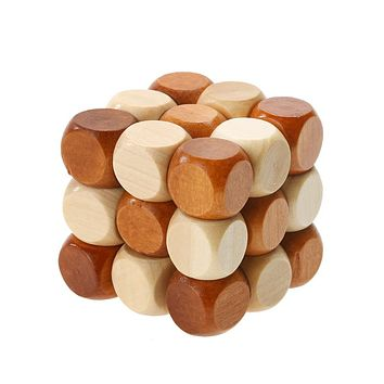 Baby Wood Toy Puzzles Cube Dragon Tail Style Rubber Woode Toys for Children Intelligence Puzzle Wooden Lock Educational Toys