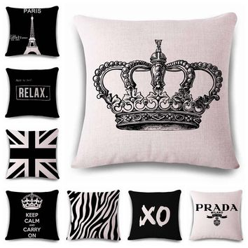 hand-painted simple crown Cushion printed(No Filler)  linen  Family affection Sofa Car Seat family Home Decorative Throw Pillow