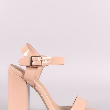 Bamboo Patent Open Toe Ankle Strap Chunky Heel