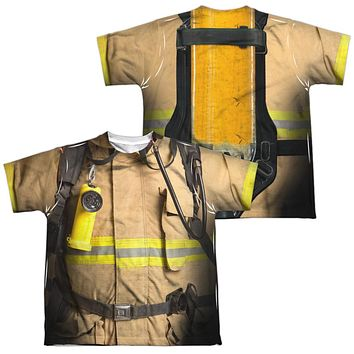 Firefighter Halloween Costume Kids T-shirt Front & Back