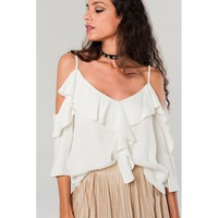 Cold shoulder top with ruffle detail in white