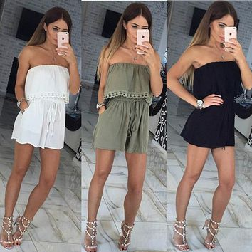 Womens Casual Off Shoulder Ruffle Romper