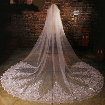 Tulle Cathedral Lace Appliques Sequins Beaded Wedding Veils voile  birdcage veil