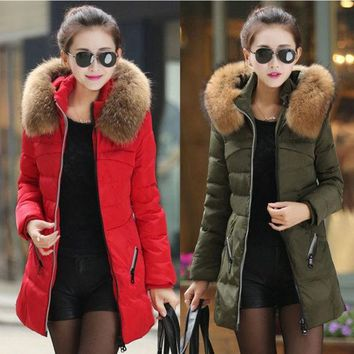 DCCKIX3 New Women's Winter Down Jacket Hooded Fur Collar Parka Coat Warm Outerwear Red Black Green 3 Colors = 1931720964