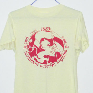 Vintage 80's SCOTTISH HIGHLAND Games Paper Thin 50/50 T-Shirt - Size SMALL