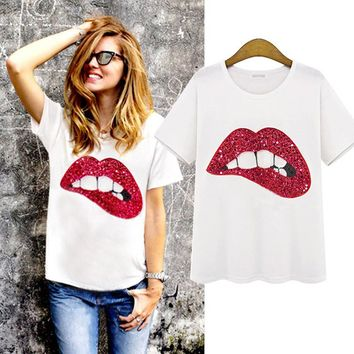 Personality Fashion Casual Big Lips Sequin Embroidered Short Sleeve Round Neck T-shirt Tops