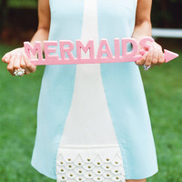 Mermaid Sign - Flamingo Pink - Coastal Decor - Pick Your Color